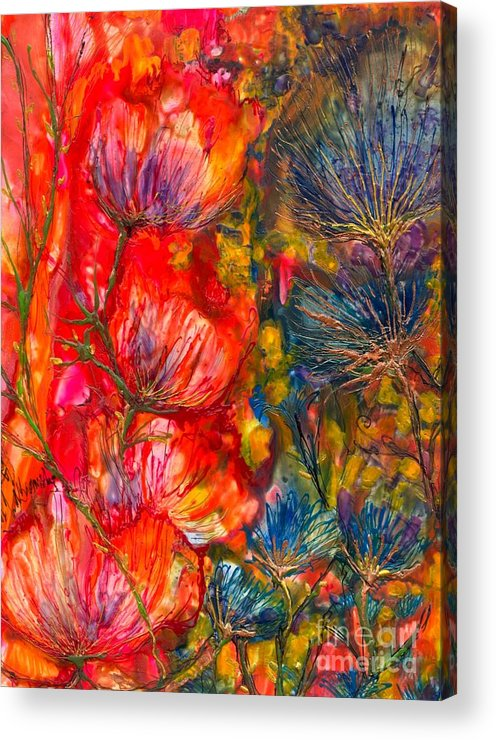 Abstract Encaustic Acrylic Print featuring the painting Petal Fiesta by Heather Hennick