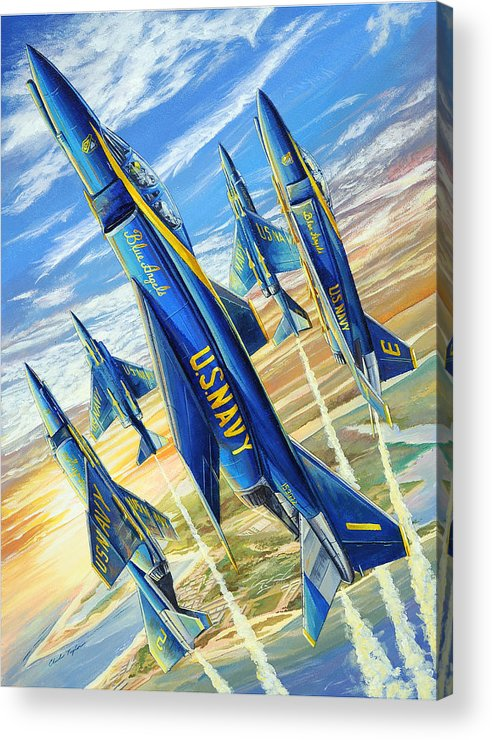Blue Angels Acrylic Print featuring the painting Phantom Angels by Charles Taylor