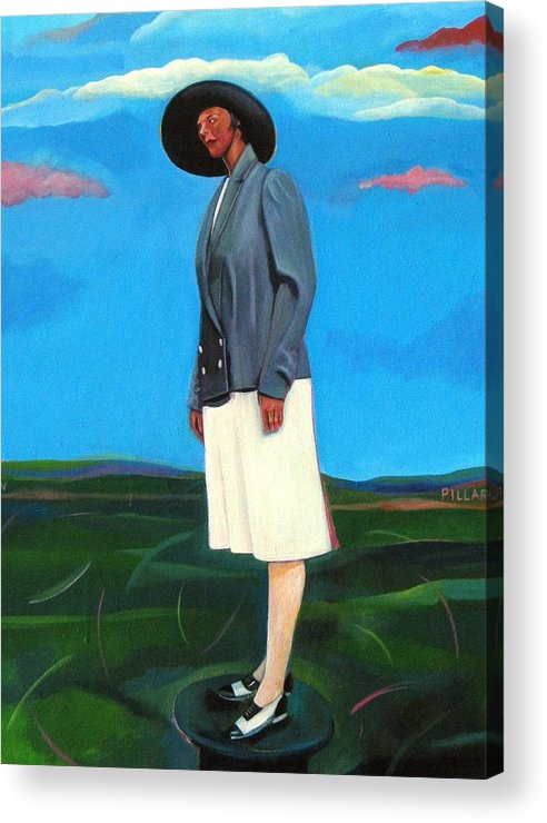 Woman Acrylic Print featuring the painting Pillars Series Florence In Black Hat by Joyce Owens