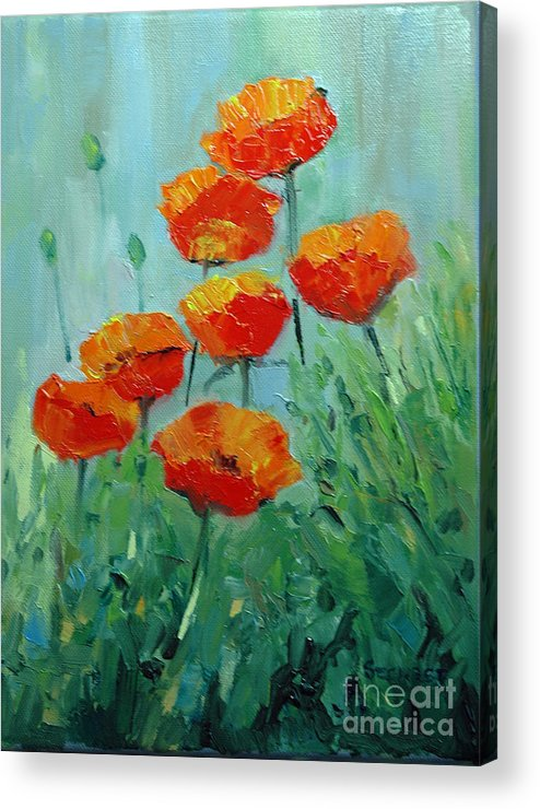 Floral Acrylic Print featuring the painting Poppies For Sally by Glenn Secrest