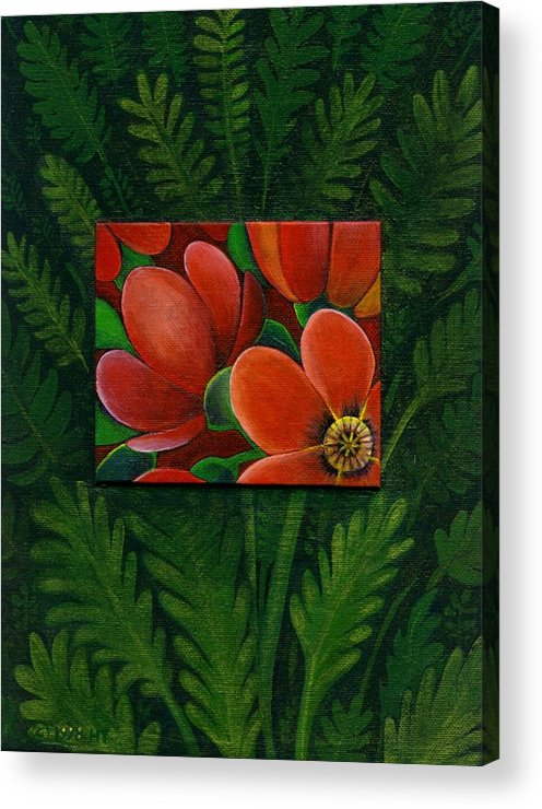 Poppy Acrylic Print featuring the painting Poppies by Helena Tiainen