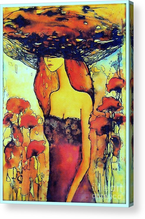 Red Acrylic Print featuring the painting Poppies Lady by Suzann Sines