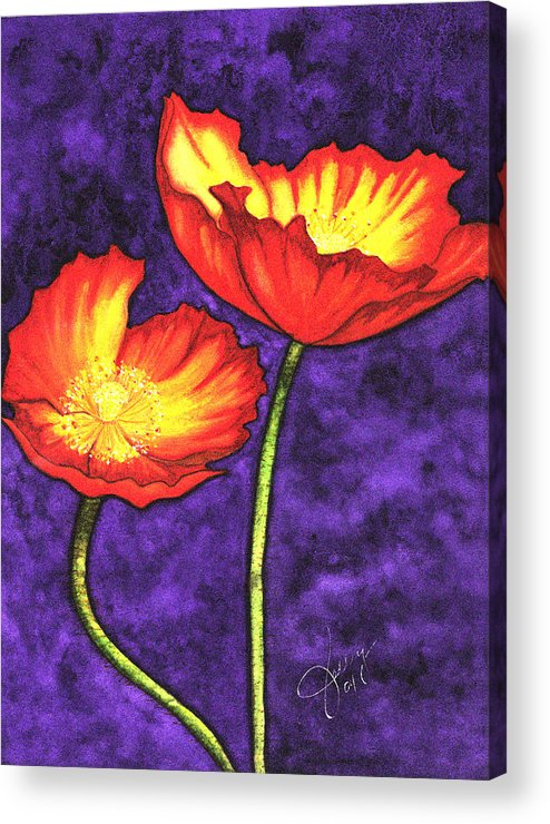 Watercolor Acrylic Print featuring the painting Poppies by Stephanie Jolley