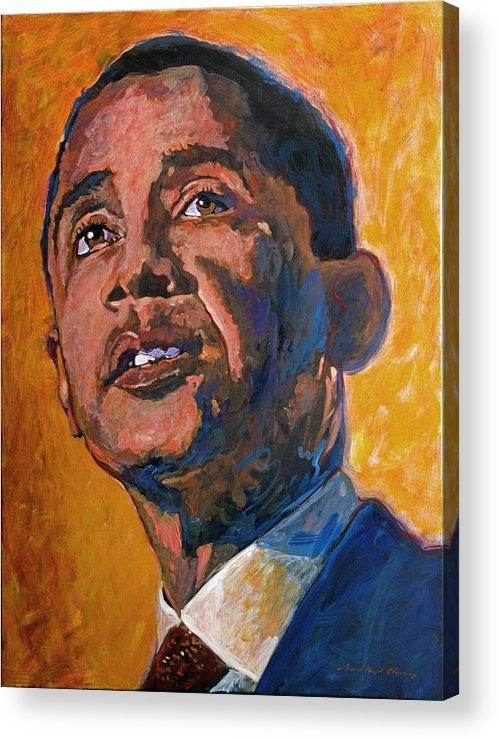 Barack Obama Painting Acrylic Print featuring the painting President Barack Obama by David Lloyd Glover