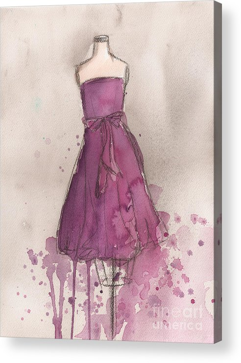 Purple Acrylic Print featuring the painting Purple Bow Dress by Lauren Maurer