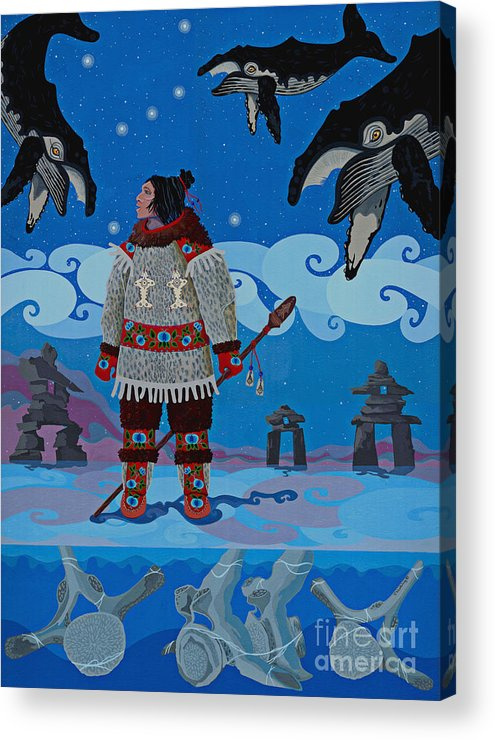 America Acrylic Print featuring the painting Qikiqtaaluk Whale Dreamer by Chholing Taha