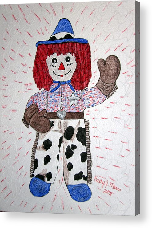 Raggedy Andy Acrylic Print featuring the painting Raggedy Andy Cowboy by Kathy Marrs Chandler