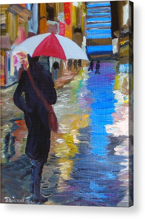 Umbrella Acrylic Print featuring the painting Rainy New York by Michael Lee