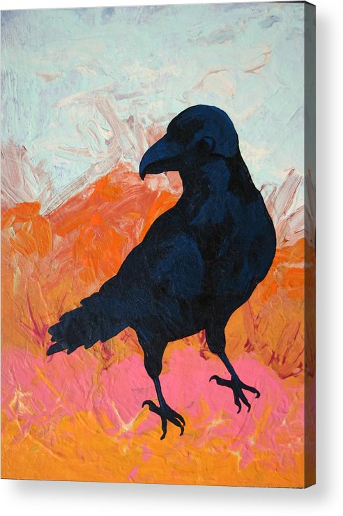 Raven Acrylic Print featuring the painting Raven I by Dodd Holsapple