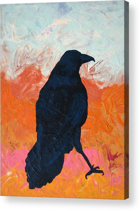 Raven Acrylic Print featuring the painting Raven II by Dodd Holsapple