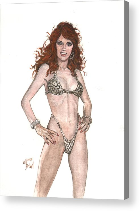 Red Sonja Acrylic Print featuring the painting Red Sonja Pinup by Will Brown