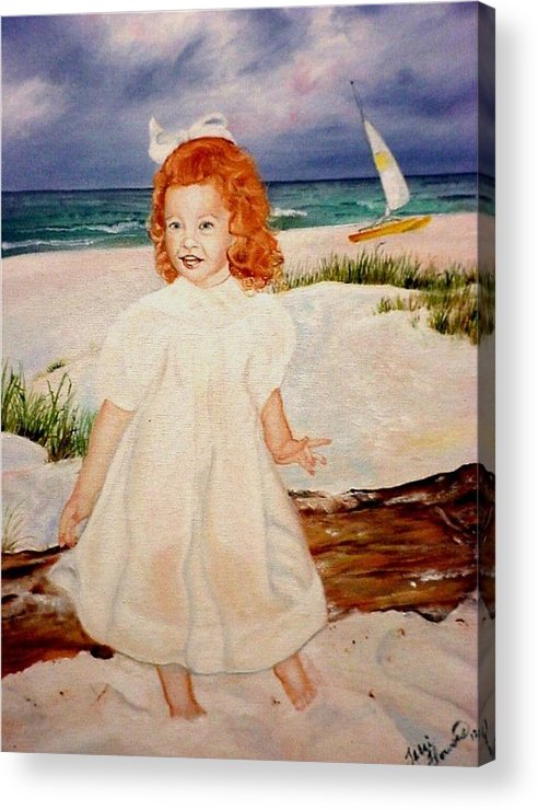 Beach Acrylic Print featuring the painting Redhead On Beach by Terri Kilpatrick