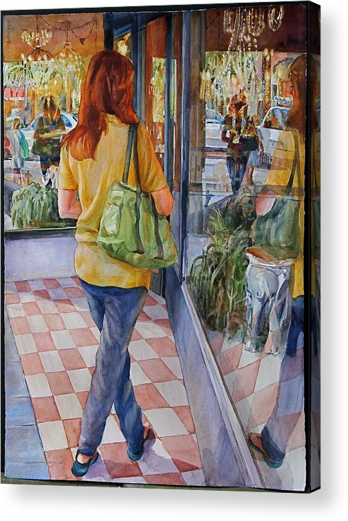 Figures Acrylic Print featuring the painting Reflecting Shopping by Carolyn Epperly