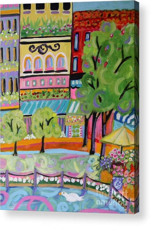 Cityscape Acrylic Print featuring the painting Reflections In The Park by Karen Fields