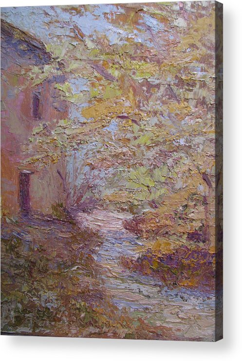 French Farmhouse Acrylic Print featuring the painting Riverside Colmar France by Belinda Consten