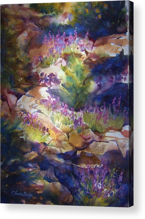 Mt. Lassen National Park Acrylic Print featuring the painting Rocks And Lupine  Sold by Therese Fowler-Bailey