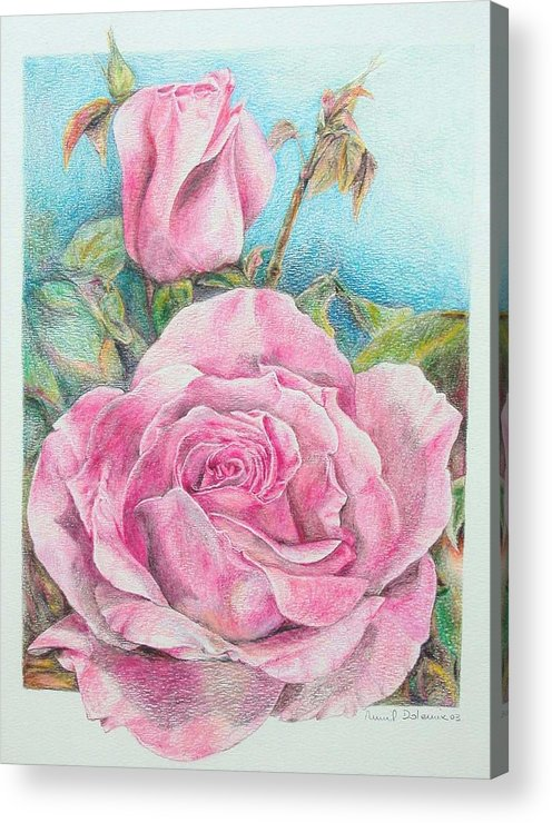 Flower Acrylic Print featuring the painting Rose by Muriel Dolemieux