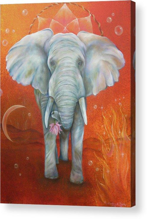 White Elephant Acrylic Print featuring the painting Royal White Elephant by Sundara Fawn
