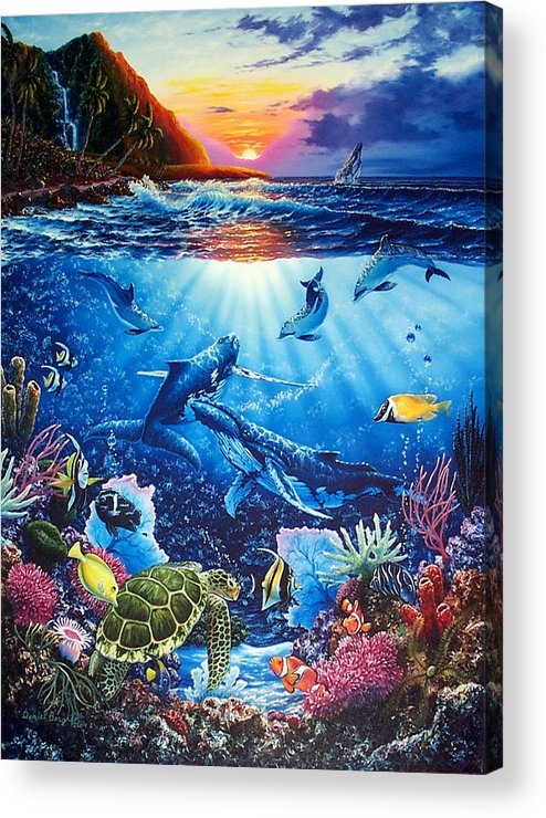 Whales Acrylic Print featuring the painting Sacred Waters by Daniel Bergren