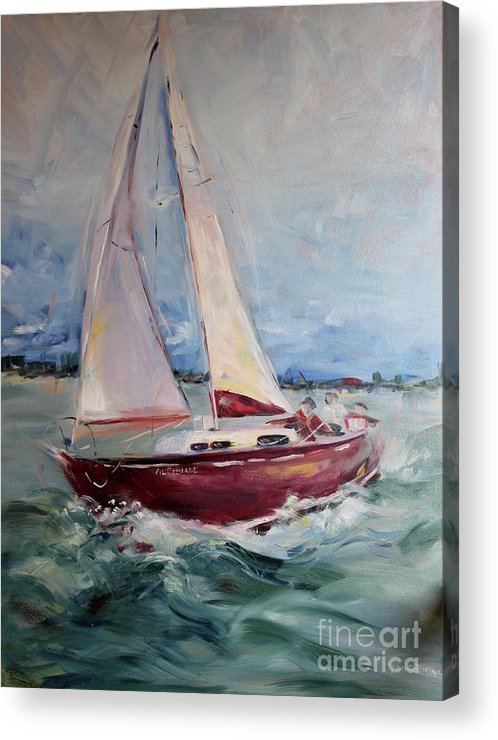 Sail Acrylic Print featuring the painting Sailing Away by Maria Reichert