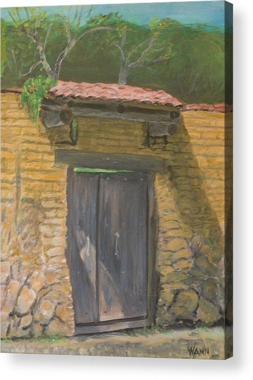 Buildings Acrylic Print featuring the painting San Sebastian Garden Door by Anita Wann