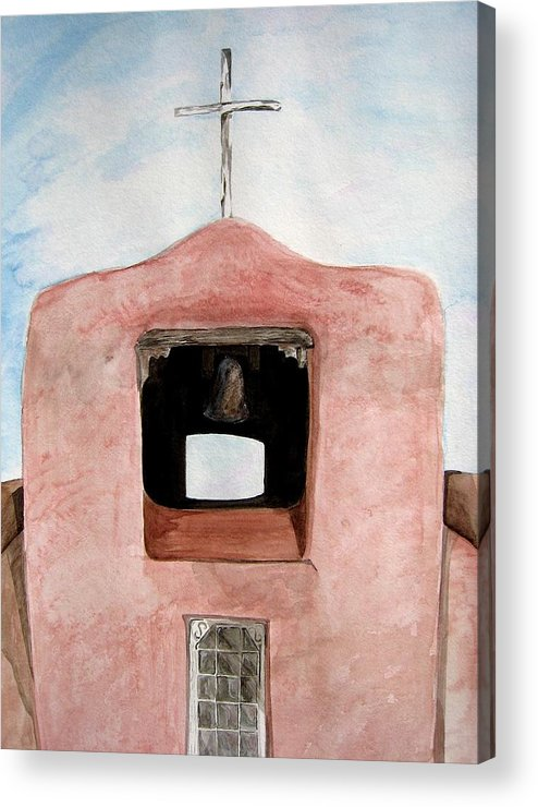 Original Art Acrylic Print featuring the painting Santa Fe Church by K Hoover