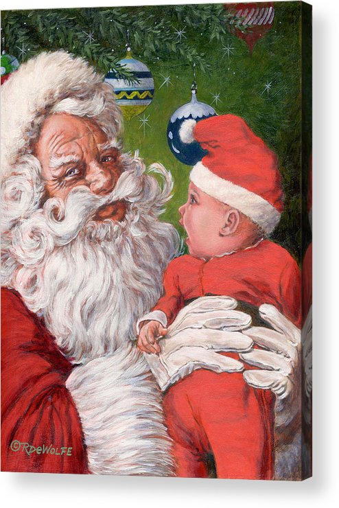 Santa Claus Acrylic Print featuring the painting Santas Little Helper by Richard De Wolfe