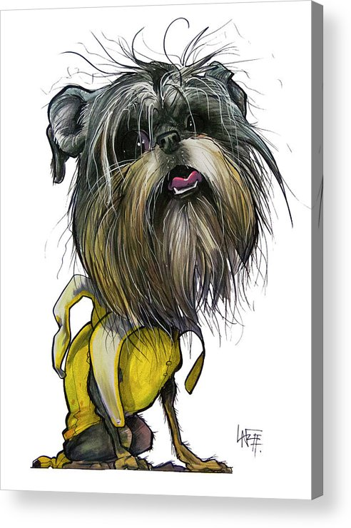 Brussels Griffon Acrylic Print featuring the drawing Sao The Banana Man by John LaFree