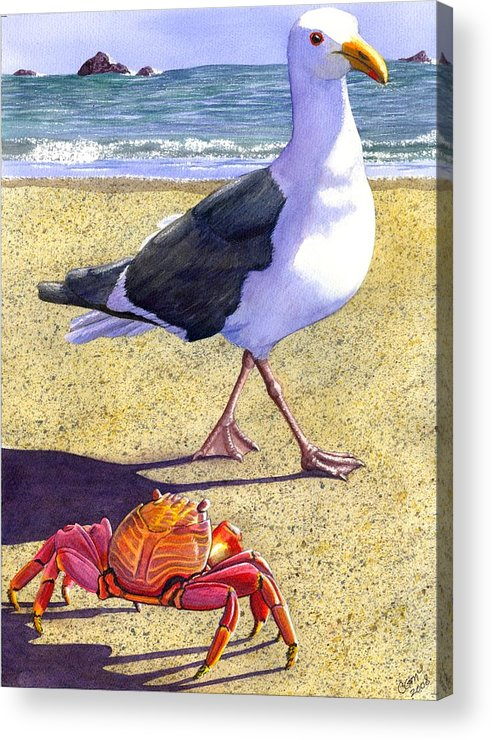 Crab Acrylic Print featuring the painting Side Stepping by Catherine G McElroy