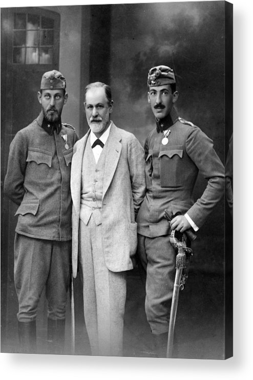 History Acrylic Print featuring the photograph Sigmund Freud 1856-1939, With His Sons by Everett