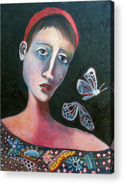Butterfly Girl Red Sad Crying Pinks Reds Blues Acrylic Print featuring the painting Skeleton Butterfly by Niki Sands