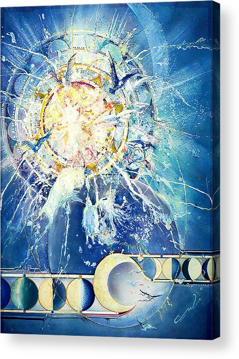 Solar Eclipse Acrylic Print featuring the painting Solar Eclipse Spirits by Connie Williams