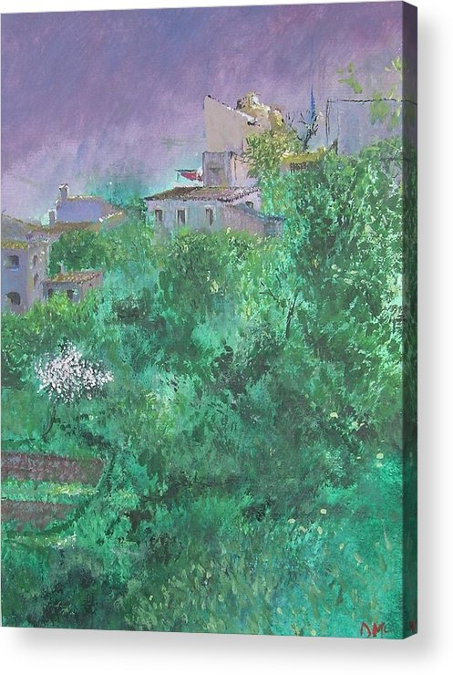 Impressionist Acrylic Print featuring the painting Solitary Almond Tree In Blossom Mallorcan Valley by Lizzy Forrester
