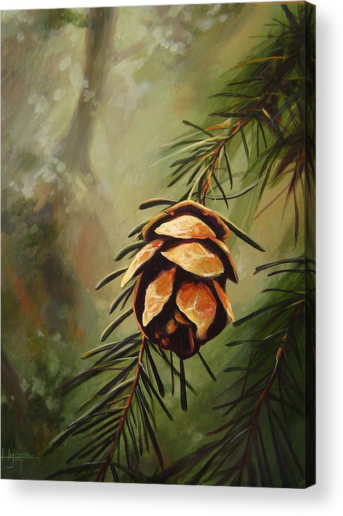 Closeup Of Spruce Cone Acrylic Print featuring the painting Solstice by Hunter Jay