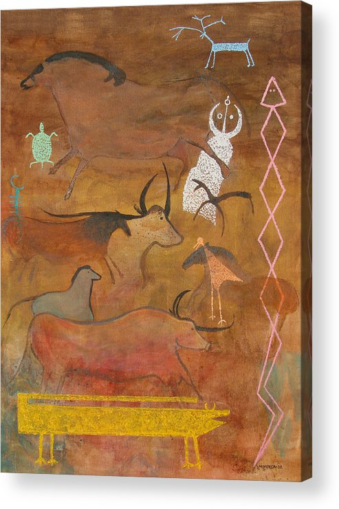 Judaica Acrylic Print featuring the painting Spirits- Souls Of All Living by Mordecai Colodner