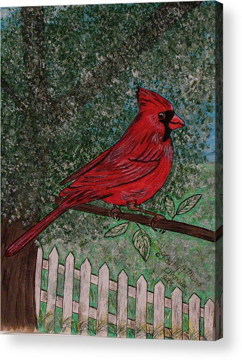 Springtime Acrylic Print featuring the painting Springtime Red Cardinal by Kathy Marrs Chandler