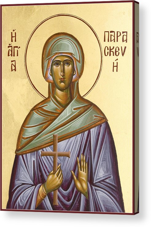 Icon Acrylic Print featuring the painting St Paraskevi by Julia Bridget Hayes