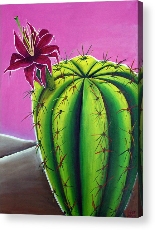 Cactus Acrylic Print featuring the painting Stargazer Cactus by Karen Aune