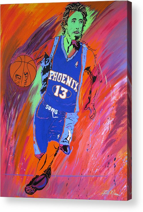 Steve Nash Paintings Acrylic Print featuring the painting Steve Nash-vision Of Scoring by Bill Manson