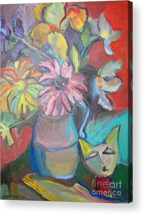 Vase Acrylic Print featuring the painting Still Life With An Abstract Cat by Marlene Robbins