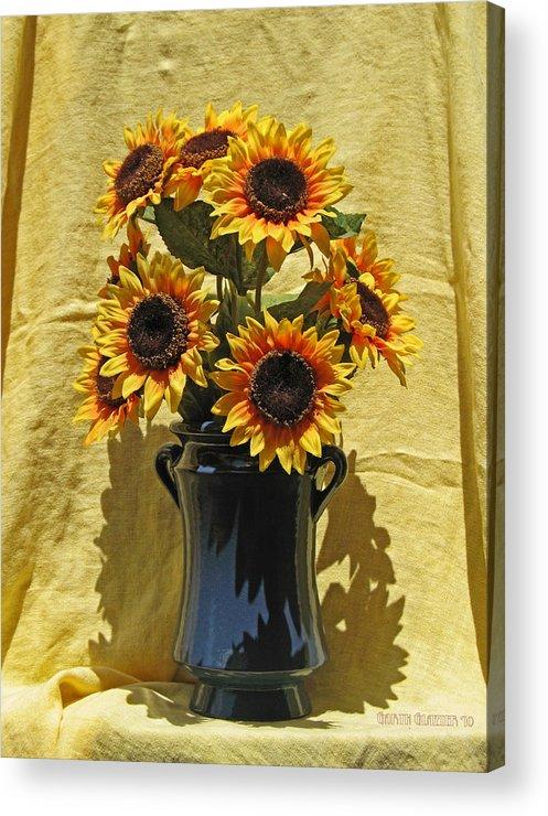 Sunflower Vase Acrylic Print By Garth Glazier