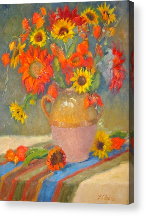 Sunflowers Acrylic Print featuring the painting Sunflowers And More by Bunny Oliver