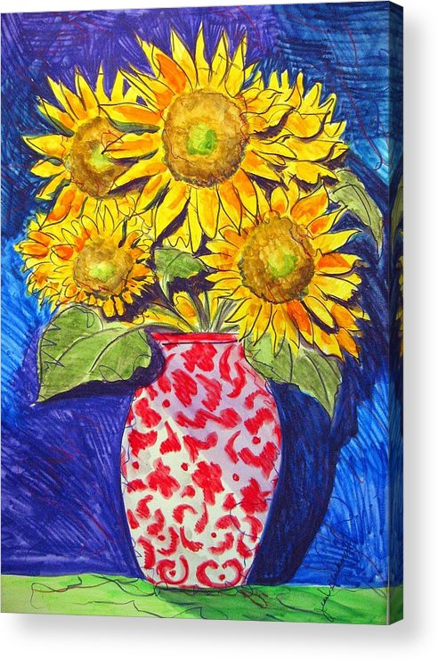 Sunflower Acrylic Print featuring the painting Sunny Disposition by Jean Blackmer