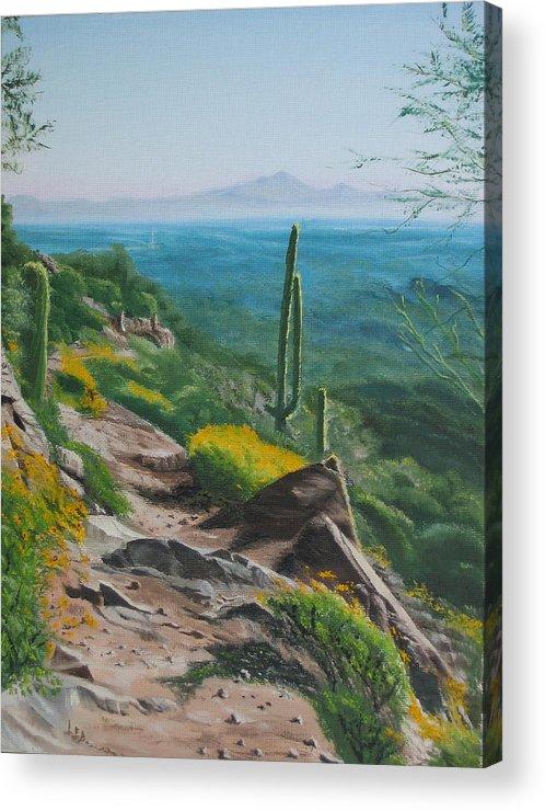 Landscape Acrylic Print featuring the painting Sunrise Trail by Lea Novak