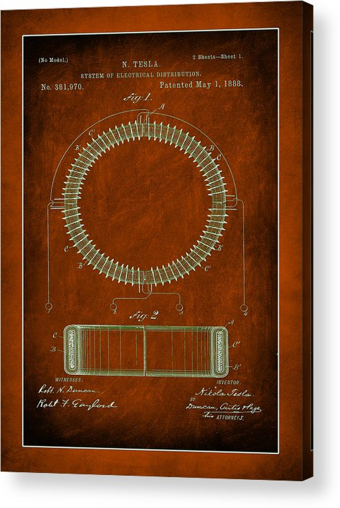 Patent Acrylic Print featuring the mixed media System Of Electrical Distribution Patent Drawing by Brian Reaves