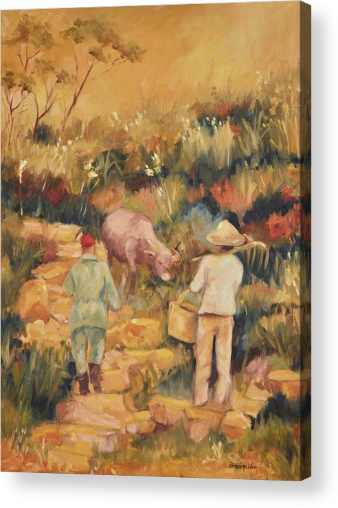 Water Buffalo Acrylic Print featuring the painting Taipei Buffalo Herder by Ginger Concepcion