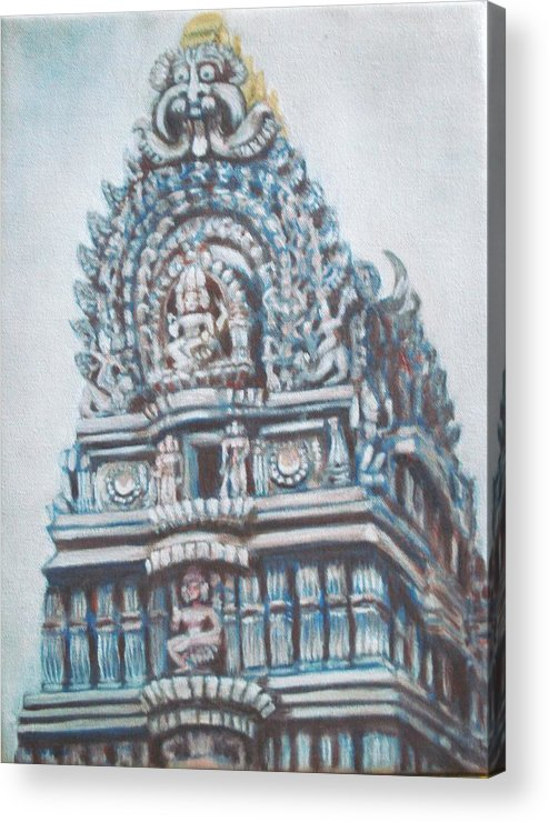 Temple Acrylic Print featuring the painting Temple by Usha Shantharam