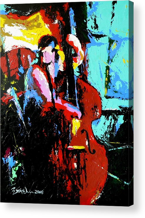 Jazz Music Acrylic Print featuring the painting The Bassist by Eddie Lim