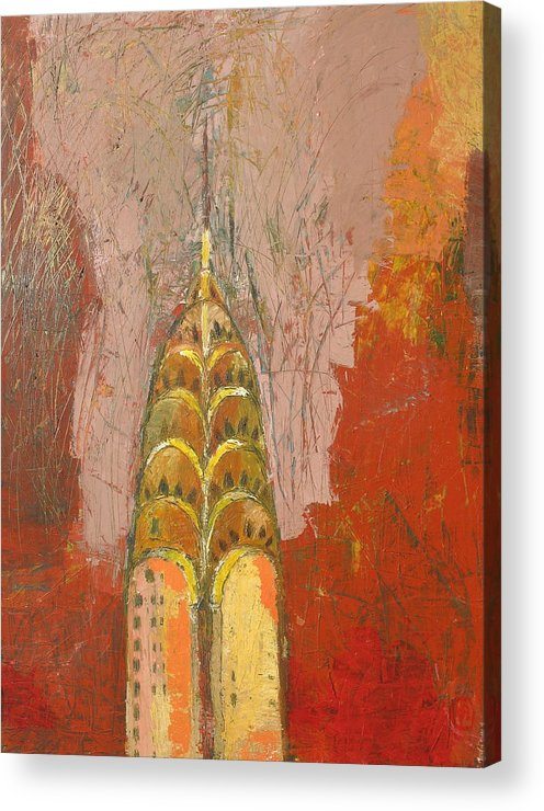 Abstract Cityscape Acrylic Print featuring the painting The Chrysler In Motion by Habib Ayat