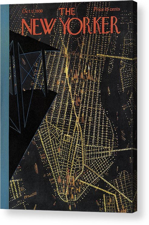 Nyc Acrylic Print featuring the painting The New Yorker Cover - October 11th, 1930 by Theodore G Haupt